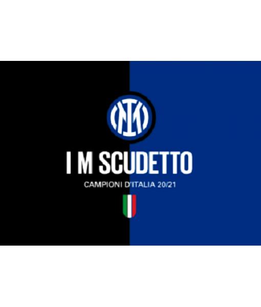 BANDIERA INTER CAMPIONI D'ITALIA 20-21 I M SCUDETTO UFFICIALE cm. 100 x 140 con LOGO NUOVO in OFFERTA !!!!