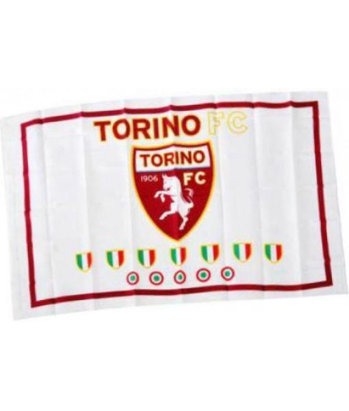 BANDIERA TORINO UFFICIALE TORO BIANCA SCUDETTI FLAG GRANDE cm. 90 x 145