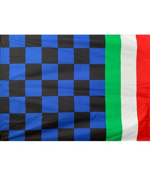 BANDIERONE NERAZZURRO per SCUDETTO CAMPIONI D'ITALIA COPPA con BANDA TRICOLORE cm. 200 x 140 | BANDIERA NERAZZURRA PER TIFOSO