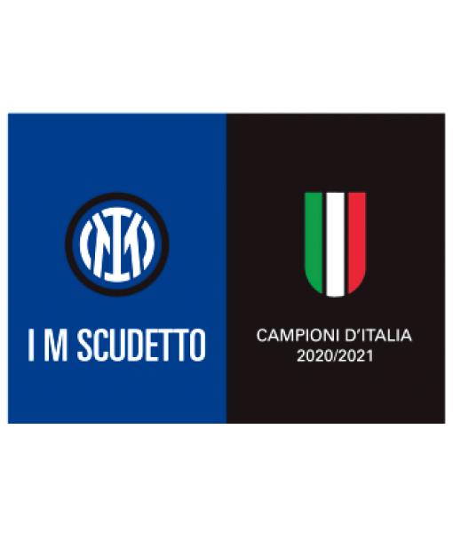 BANDIERONE INTER UFFICIALE CAMPIONI D'ITALIA 2020-21 SCUDETTO TRICOLORE cm. 220 x 140 | BANDIERA INTER CAMPIONI D'ITALIA