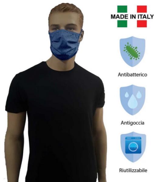 MASCHERINA Set 2 pz. EFFETTO JEANS COPRIBOCCA LAVABILE DOPPIO STRATO in TESSUTO IDROREPELLENTE e ANTIBATTERICO (NO DPI)