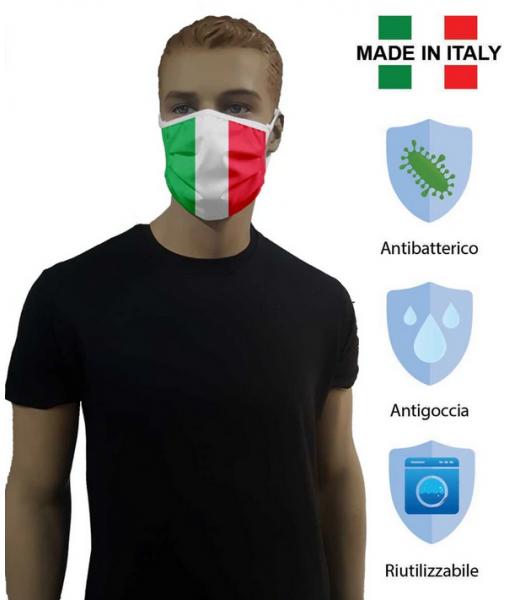 MASCHERINA ITALIA Set 2 pz. COPRIBOCCA LAVABILE DOPPIO STRATO in TESSUTO IDROREPELLENTE e ANTIBATTERICO (NO DPI)